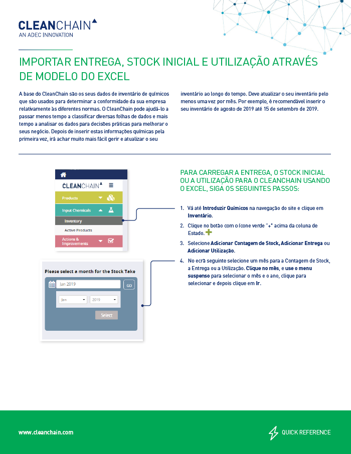 Import Delivery, Stock-take, and Usage by Excel Template (Português)