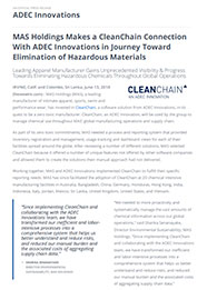 MAS Holdings Makes a CleanChain Connection With ADEC Innovations in Journey Toward Elimination of Hazardous Materials